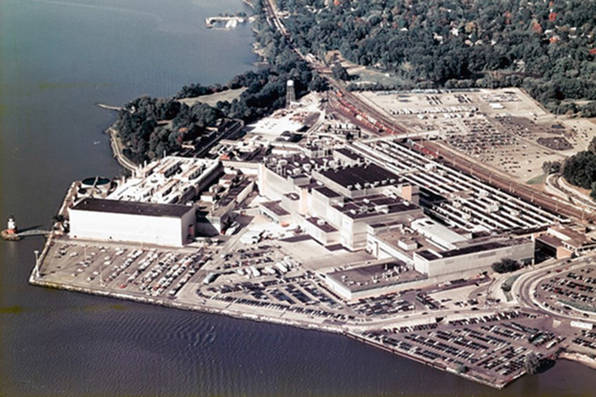 An aerial photo of the General Motors assembly plant from the 1980s. Westchester County Historical Society/Bloomberg News